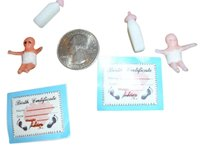 Baby shower gift miniature doll house toy child kid gift baby bottle certificate