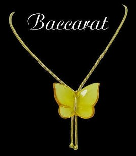 Baccarat Baccarat 18k Yellow Gold Yellow Butterfly Pendant Bolo Necklace N289