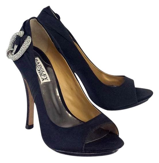 Badgley Mischka Satin Peep-Toe Pumps choice cheap online shipping discount sale cheap 2015 wholesale price cheap online sneakernews for sale 2XcxPOC