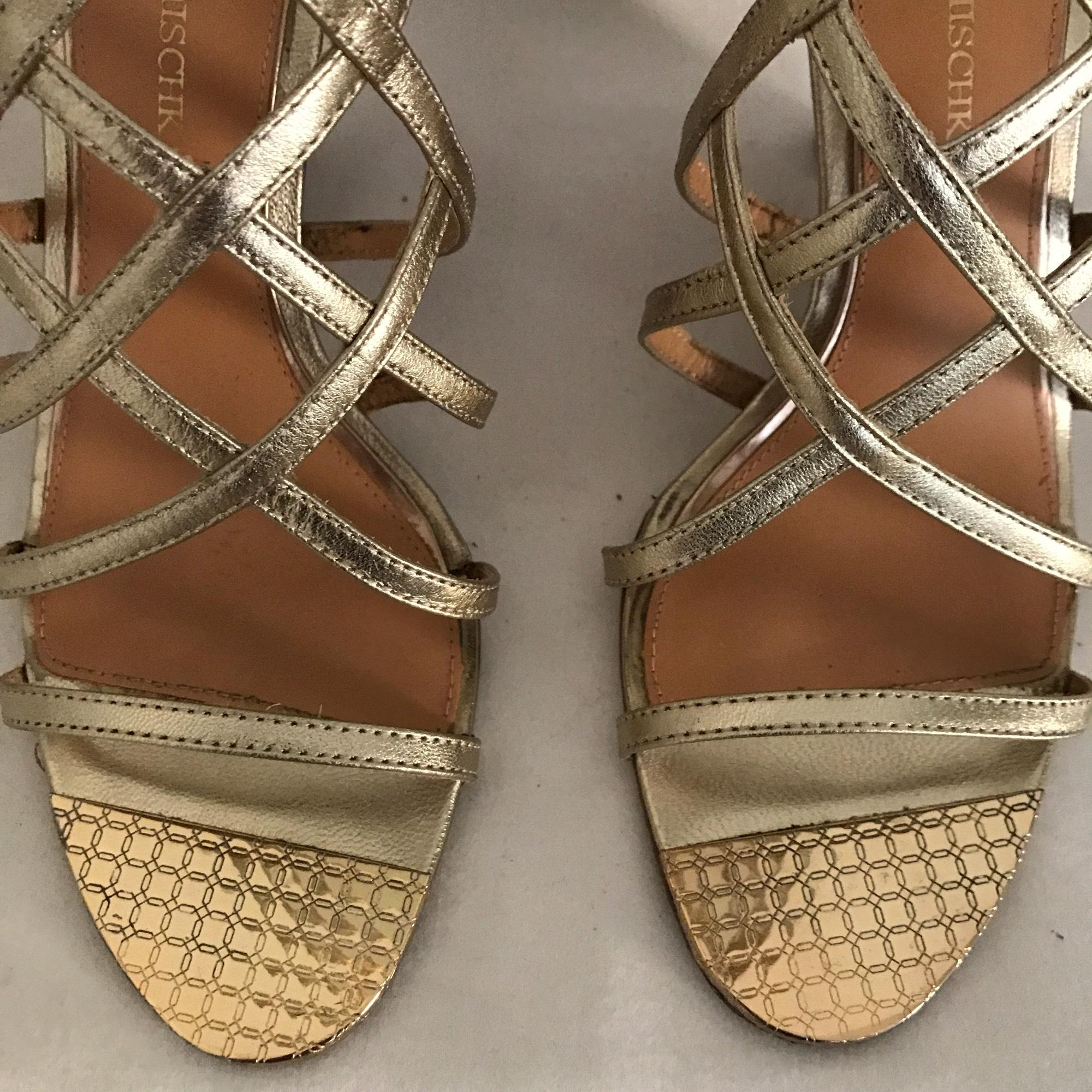 Badgley Mischka Leather Strappy Gold Wedges on Sale 80% f