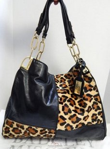 Badgley Mischka Leather Cheetah Calf Hair Slouch Shoulder Bag