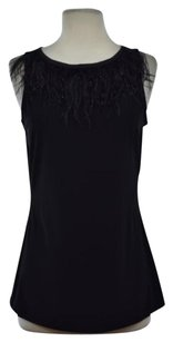 Badgley Mischka Collection Womens Sleeveless Shirt Top Black
