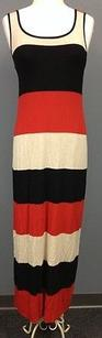 Multi-Color Maxi Dress by Bailey 44 Beige Red Black Stripe Cotton Blend Sleeveless Maxi Sma8213