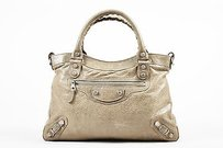 Balenciaga Gray Leather Tote in Taupe