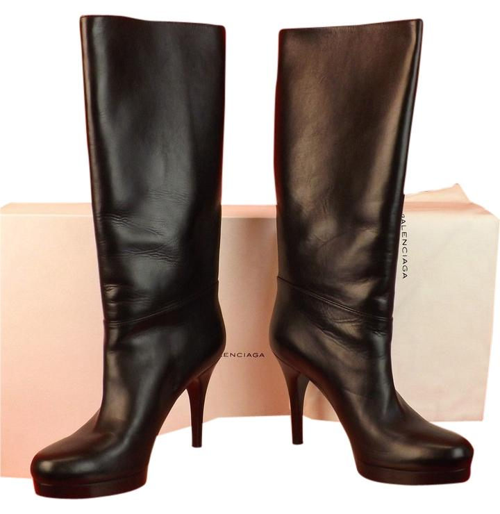 Balenciaga Black Calf Leather Mid Calf Slouch Platform Boots/Booties Size EU 39 (Approx. US 9) Regular (M, B)