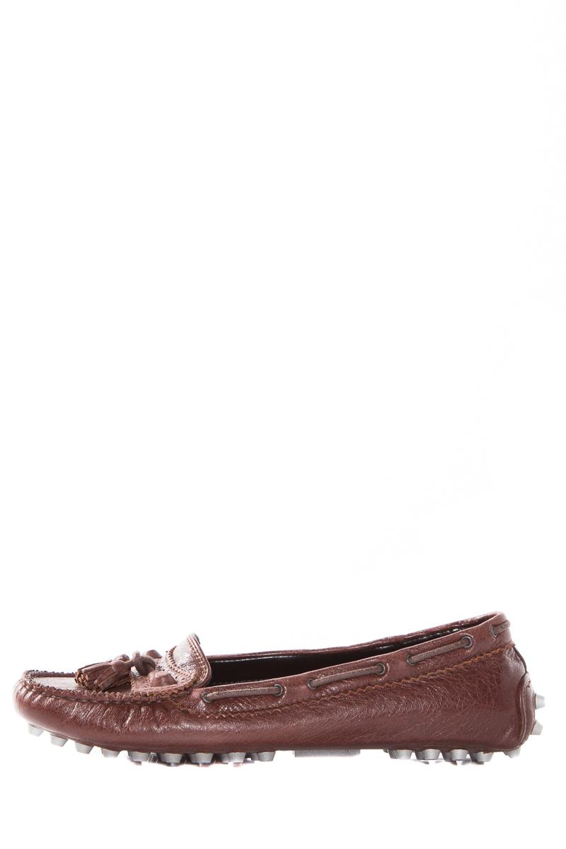 Balenciaga Brown Leather Driving Loafers Flats Size US 6.5 Regular (M, B)