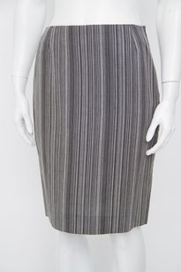 Balenciaga Black Pinstripe Flax Straight Slim Pencil 440 Sm Skirt Gray