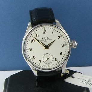 Ball Ball Trainmaster Officer Nm3038d-lj-wh Manual Wind Wh Dial Blk Strap Watch