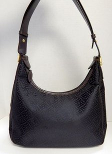 Bally Black Signature Canvas Leather Hobo Crossbody Italy Shoulder Bag