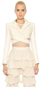 Balmain Natural Crop Viscose White Jacket