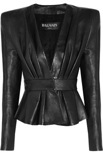 Balmain Peplum Leather Leather Jacket