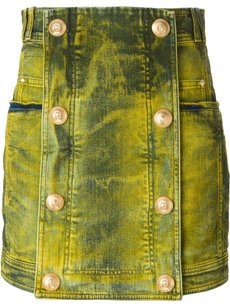 Balmain Spring Summer Luxury Mini Skirt Yellow