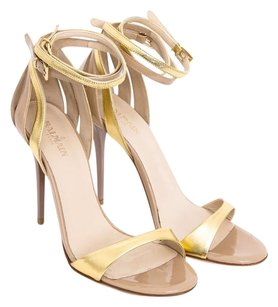 Balmain Cara Nude Patent Leather Strappy Stiletto Cutout Sandal Heels 939 Gold Pumps