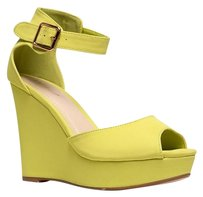 Bamboo Ankle-strap High-heel Lastcall Lance02limenub-8.5 Yellow Wedges