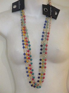 Banana Republic Banana Republic Bead Gold Link Layering Necklace R B G Y Set Of