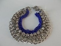 Banana Republic Banana Republic Silver Chain Crystal Blue Enamel Layering Bracelet