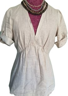 Banana Republic Linen V-neck Top Natural