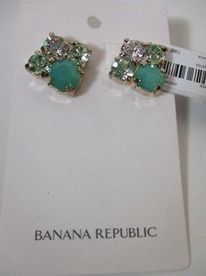 Banana Republic Lot Of Banana Republic Green Stone Cyrstal Custler Stud Earrings