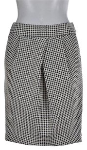Banana Republic White Black Pencil 0 Plaid Career Skirt Multi-Color