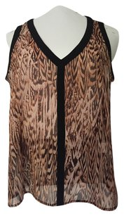 Bar III V-neck Sleeveless Summer Leopard Top Animal Print