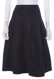 Barbara Tfank Taffeta Usa Water Marked Pleated Drop Waist Classic Designer Skirt Black
