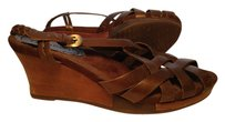 Bare Traps Wood Woven Slingback Wedge Brown Sandals