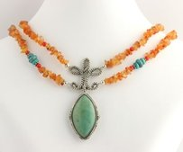 Barse Barse Gemstone Statement Necklace - Sterling Silver Reconstituted Turquoise
