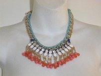 BaubleBar Lee Angel Nordstom Blu Pink Clear Crystal Fan Rope Bib Statement Necklace 89