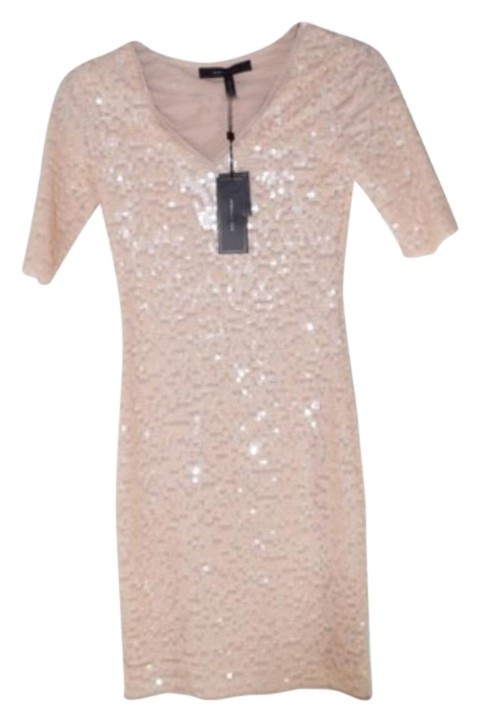 BCBG Beige Sequin Mini Dress