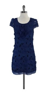 BCBGMAXAZRIA short dress Blue Floral Applique Silk on Tradesy