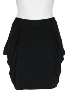 BCBGeneration Womens Solid A Line Above Knee Casual Elastic Skirt Black