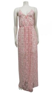 Cream Maxi Dress by BCBGeneration Pink Lace Overlay Surplice Maxi