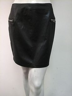 BCBGeneration Distressed Faux Leather Straight Skirt Black