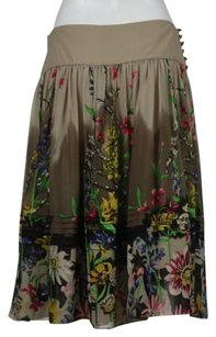 BCBGMAXAZRIA Womens A Line Silk Career Mid Calf Floral Skirt Brown