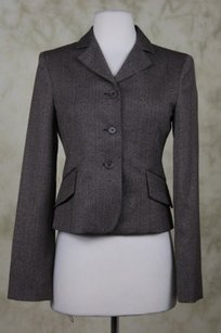 BCBGMAXAZRIA Bcbg Max Azria Womens Brown Ivory Blazer Career Jacket Herringbone
