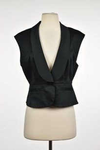 BCBGMAXAZRIA Bcbg Maxazria Womens Black Vest Sleeveless Suit Blazer Career Wtw Cotton