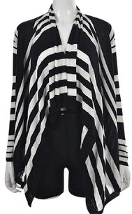 BCBGMAXAZRIA Bcbg Max Azria Womens Black Cardigan Open Front Striped Sweater
