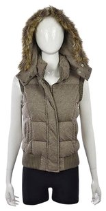 BCBGMAXAZRIA Womens Beige Gray Sleeveless Coat Vest