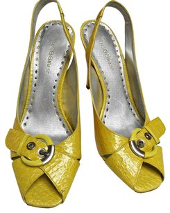BCBGMAXAZRIA Open Toe Patent Leather Gold Hardware Yellow Pumps