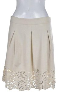 BCBGMAXAZRIA Womens Pleated Below Knee Cut Out Casual Skirt Ivory