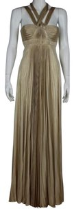 BCBGMAXAZRIA Womens Metallic Formal Long Sleeveless Sheath Dress