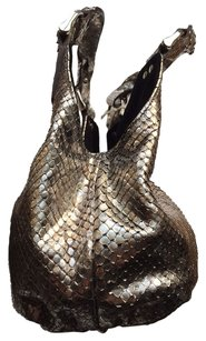 Be&D Snakeskin Anaconda Python Suede Leather Satchel in Metallic