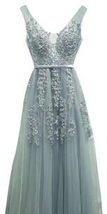 Beautiful Gray Floral Prom Dress Dress
