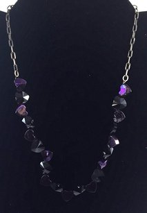bebe Bb .925 Sterling Silver Purple Heart Crystals Necklace 15