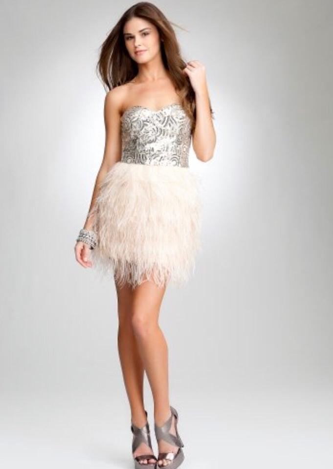 bebe Light Pink Isis Sequin Ostrich Feather Style Short Cocktail ...