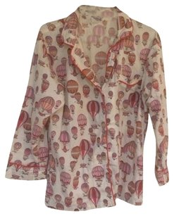Bed Head Hot Air Balloon Pajama Button Down Shirt White And Pink