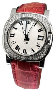Bedat & Co Bedat No.8 White Dial Pink Leather Band Diamond Bezel Watch