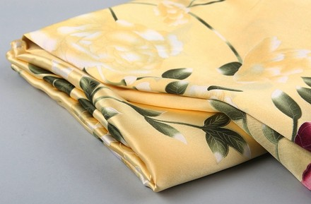 Other Beige Silk Pillowcase (100% Silk) Ivory Red Green Color With Butterfly And Roses Print Standard Size: 19