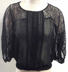 Bellatrix Polyester Batwing Elastic Waist Sheer Lace Accent Bb199 Top Black