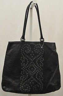 Berge Black Leather Grommet Tote in Blacks